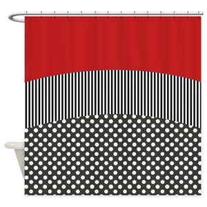 Red Stripes Shower Curtains