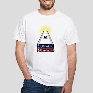 Librarian Illuminati White T-Shirt