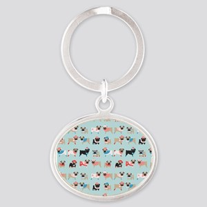 Winter Pugs Oval Keychain