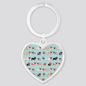 Winter Pugs Heart Keychain