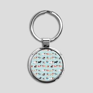 Winter Pugs Round Keychain