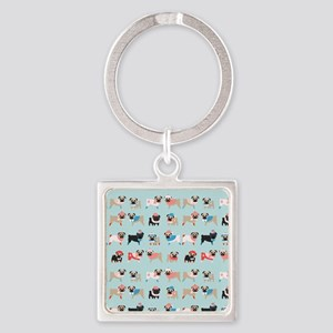 Winter Pugs Square Keychain