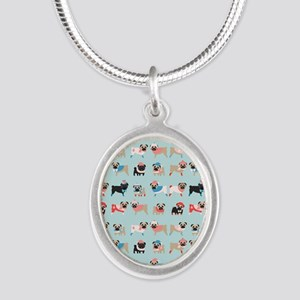 Winter Pugs Silver Oval Necklace