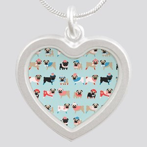 Winter Pugs Silver Heart Necklace