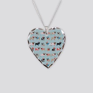 Winter Pugs Necklace Heart Charm