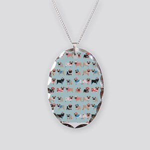 Winter Pugs Necklace Oval Charm