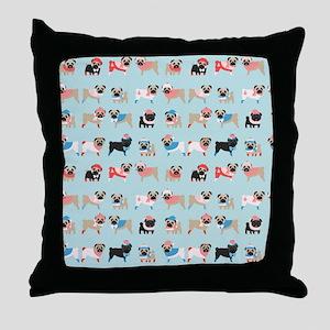 Winter Pugs Throw Pillow