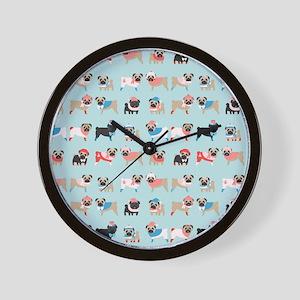 Winter Pugs Wall Clock