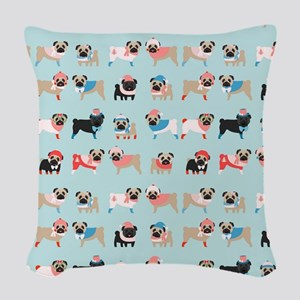 Winter Pugs Woven Throw Pillow