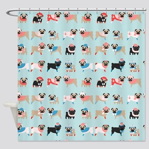 Winter Pugs Shower Curtain
