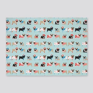 Winter Pugs 5'x7'Area Rug