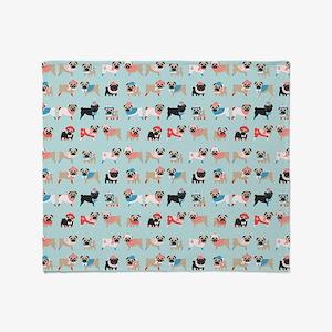 Winter Pugs Throw Blanket