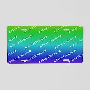 Merry Christmas Text rainbo Aluminum License Plate