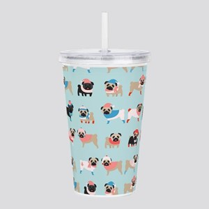 Winter Pugs Acrylic Double-wall Tumbler