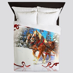 Holiday season' s sleigh ride Queen Duvet