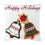 Christmas Cookie Bells Woven Throw Pillow