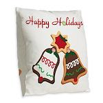 Christmas Cookie Bells Burlap Throw Pillow