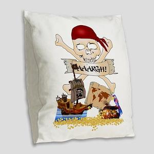 Pirate Day Icons Burlap Throw Pillow