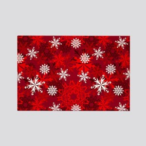 Snowflakes-Red - Rectangle Magnet Magnets
