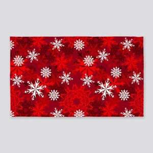 Snowflakes-Red - 3'x5' Area Rug