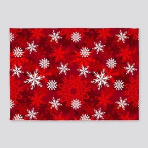 Snowflakes-Red - 5'x7'area Rug