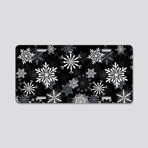 Snowflakes-Black - Aluminum License Plate