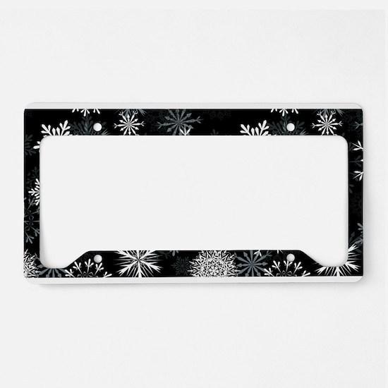 Snowflakes-Black - License Plate Holder