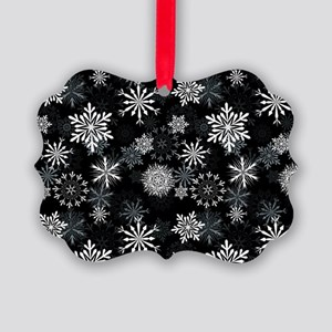 Snowflakes-Black - Picture Ornament