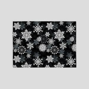 Snowflakes-Black - 5'x7'area Rug