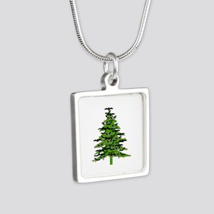 Christmas Bat Tree Silver Square Necklace