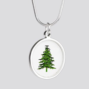 Christmas Bat Tree Silver Round Necklace