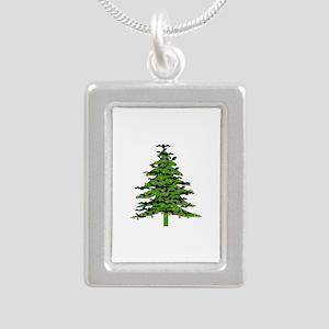 Christmas Bat Tree Silver Portrait Necklace