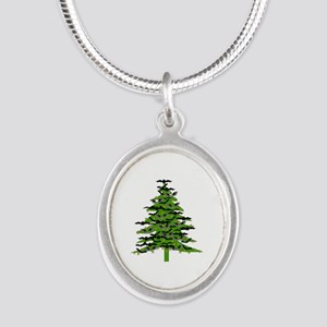 Christmas Bat Tree Silver Oval Necklace