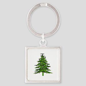 Christmas Bat Tree Square Keychain
