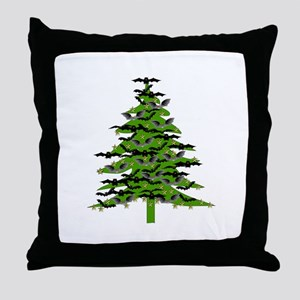 Christmas Bat Tree Throw Pillow