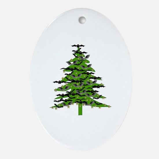 Christmas Bat Tree Ornament (Oval)