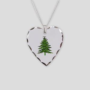 Christmas Bat Tree Necklace Heart Charm