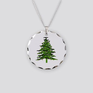Christmas Bat Tree Necklace Circle Charm
