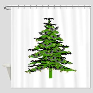 Christmas Bat Tree Shower Curtain