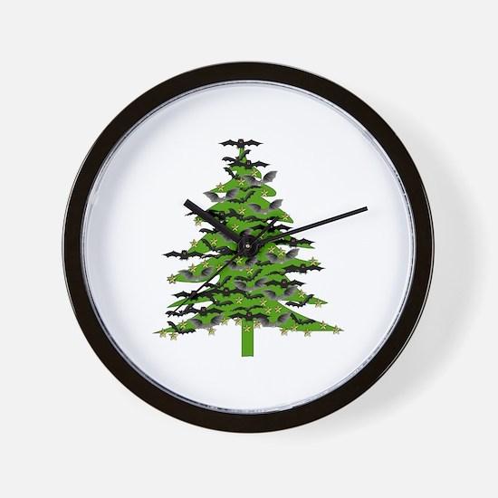 Christmas Bat Tree Wall Clock