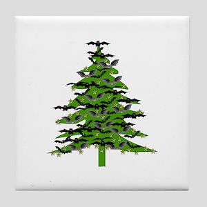 Christmas Bat Tree Tile Coaster