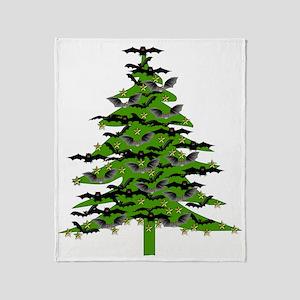 Christmas Bat Tree Throw Blanket
