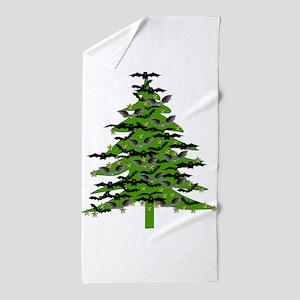 Christmas Bat Tree Beach Towel