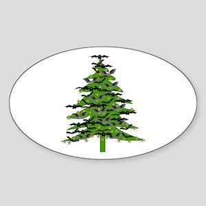 Christmas Bat Tree Sticker (Oval)