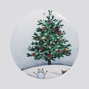 Christmas Snow Cats Ornament (Round)