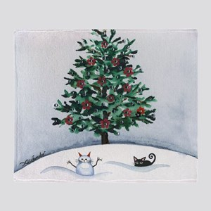 Christmas Snow Cats Throw Blanket