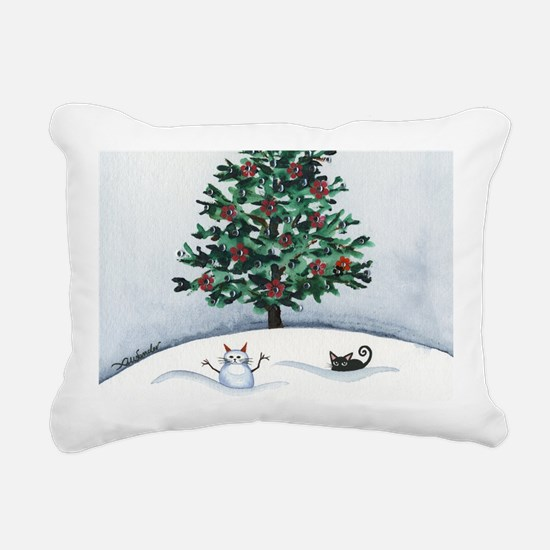 Christmas Snow Cats Rectangular Canvas Pillow