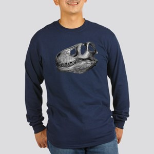 T-Rex Skull Long Sleeve Dark T-Shirt