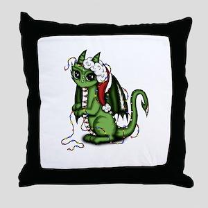 Christmas Dragon Throw Pillow