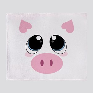 Pig Face Throw Blanket